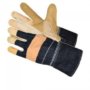 Rękawice robocze wzmacniane skórą licową LUX